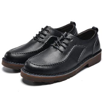 Sepatu Kulit Asli Pria Pengusaha Sepatu Kantor Sepatu Berjalan Gaun  Bepergian Hitam 8c7bb7ca8c