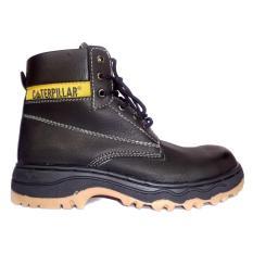 Sepatu safety caterpillar dyno hitam, safety shoes caterpillar, sepatu pria safety boots caterpillar dyno hitam licin
