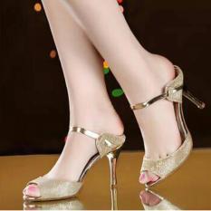 Sepatu Sandal High Heel Wanita Glitter Hak Lancip Gold