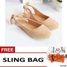 Sepatu Sandal Selop Flat Pita Free SlingBag - Suede Cream