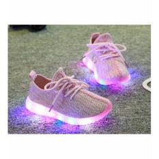 Sepatu Sekolah Anak Lampu LED Knit Shoes Pink