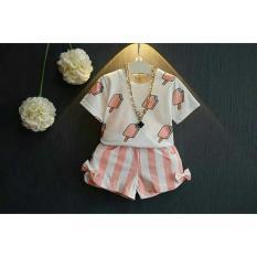 Setelan Ice Cream Soft 3 - 5 tahun / Shirt Kids / Baju dan Celana Polos / Trendy Lucu Good Quality (eic eamcr) XR - Putih Pink