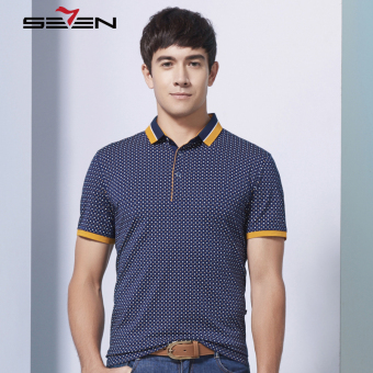 Seven Brand Men Stretch Polka Dot Polo Tshirt Casual Contrast Color Slim Dark Blue