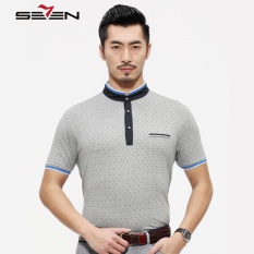 Seven Brand Stretch Men Polo Tshirt Mandarin Collar Letter Pattern Grey - Intl