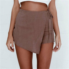 Sexy Hot Pants Summer Casual Shorts Beach High Waist Dress Shorts Fashion Women Brown - Intl