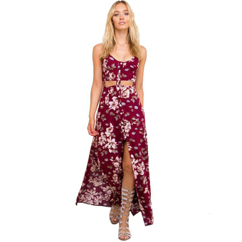 94c74c6a16031 Sexy Women Strap Floral Hollow Slit Casual Beach Chiffon Maxi Long Full  Dress ( Wine Red