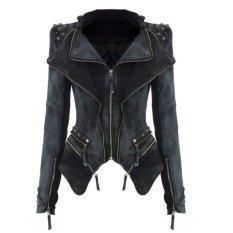 Sharp Power Studded Shoulder Notched Lapel Denim Jeans Tuxedo Coat Blazer Jacket S-XL (EXPORT)