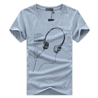 Shopaholic Kaos Katun Pria T-Shirt Headphone O Neck Size M - Gray