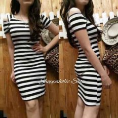 Shoppaholic Shop Dress Wanita Bodycon Stripe