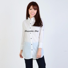 Shoppaholic Shop Kemeja Wanita Qiera Button - Putih