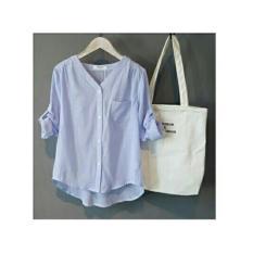 Shopping Yukz Kemeja Stripe Monalisa - Biru