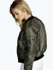 Short Zip Front Long Sleeve Women Jacket Dark Green (Intl)