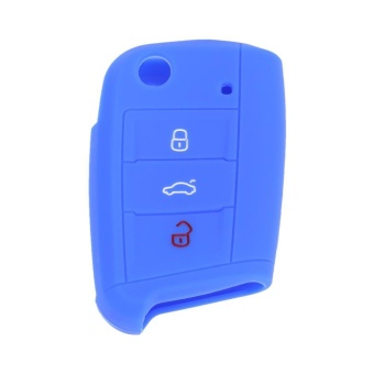 Silicone 3 Button Remote Flip Key Case Fob Protect Cover for VW Golf(Blue) - intl