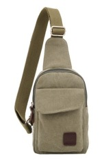 Sk Mall 021 Korean Style Canvas Man Shoulder Bags (Army Green) - Intl