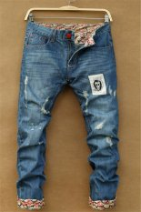 Skeleton Skull Printed Straight Style Slim Men's Denim Jeans (Intl)