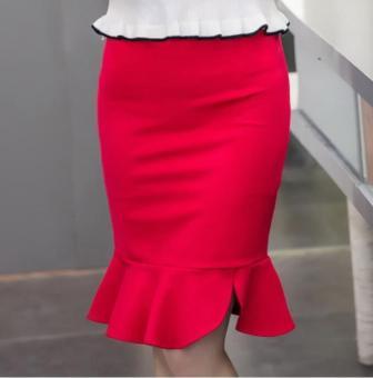 skirts womens Pencil Skirt Plus Size High Waist Bodycon Skirt Office Ladies Irregular Ruffle midi Skirt