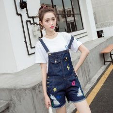 Slim Women's Mid-waisted Ripped Shorts Jeans Fashion Overalls Blue - Intl