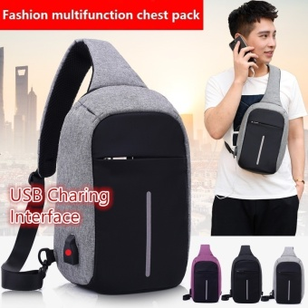 Sling Backpack, Antitheft Outdoor Shoulder Chest Pack UnbalanceCrossbody Bag for Men Boys Travel Daypack,Grey - intl