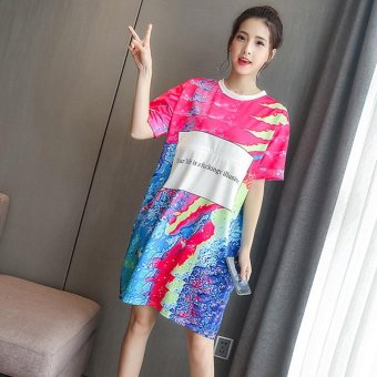 Small Wow Maternity Casual O-neck Stitching Contrast Color Cotton Loose Above Knee Dress Multicolor