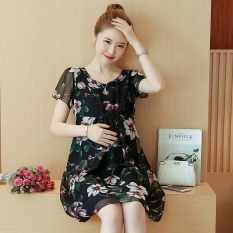Small Wow Maternity Elegant O-neck Print chiffon Loose Above Knee Dress Black - intl