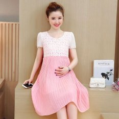 Small Wow Maternity Going Out O-neck Stitching Contrast Color chiffon Loose Above Knee Dress Pink - intl