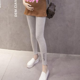 Small Wow Maternity Korean Loose Solid Color Thin Cotton Long Pants for Summer Light Grey - intl
