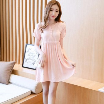 Small Wow Maternity Korean Round Solid Color Cotton Above Knee Dress Pink - intl
