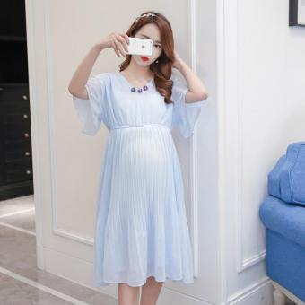 Small Wow Maternity Korean V-neck Solid Color chiffon Above Knee Dress Blue - intl