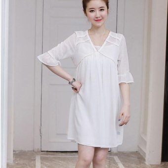 Small Wow Maternity Korean V-neck Solid Color chiffon Above Knee Dress White - intl