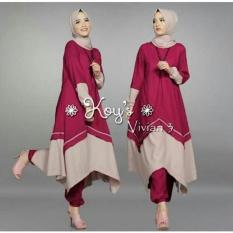 Snowshopkita Baju Muslim Setelan Vivian 3in1 - Maroon