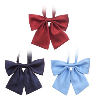 Solid Color Bowtie Bowknot Necktie Adjustable Neck Tie Unisex Ties Plain Burgundy - Intl
