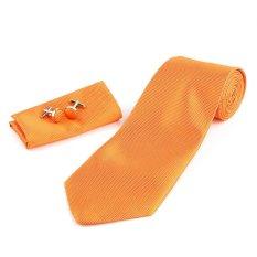 Solid Series Tie Necktie Mens Tie Party Tie Hanky Cufflink Set Classic Orange