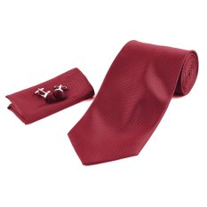 Solid Series Tie Necktie Mens Tie Party Tie Hanky Cufflink Set Classic Red