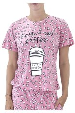 Sook Woman T-Shirt (Print First I Need Coffee) - Pink