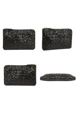 Sparkling Bling Bling Sequins Style Women's Ladies PU Handbag Cosmetic Bag Dinner Bag Black
