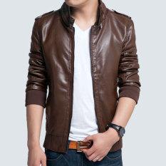 Spring And Autumn Korean Men's Leather Jacket Male Slim Mandarin Collar Zipper Leather Coat Fashion Casual Locomotive Leather Jacket-Brown - Intl