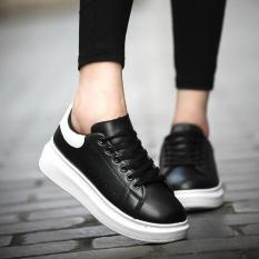 Spring Autumn Korean Students Breathable Couple Shoes High-heeled Casual Sports Shoes (Black White) - Intl
