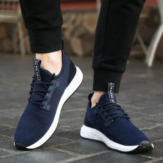 Spring Autumn Men's Sneakers 2017 Men Running Shoes Trending Style Sports Shoes Breathable Trainers Sneakers (Blue) - Intl