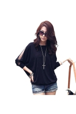 Spring Summer Round Neck Mesh Batwing Long Sleeves Women's Loose T-shirt Blouse Tops - Size L Black - Intl