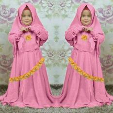 SR Collection Hijab Anak Nasya Kombinasi Renda Bordir - Pink