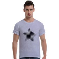 Star-Dotted Pattern Cotton Soft Men Short T-Shirt (Grey) - Intl