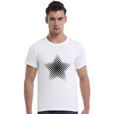 Star-Dotted Pattern Cotton Soft Men Short T-Shirt (White)