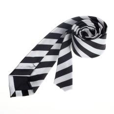 Stripe Casual Slim Mens Skinny Narrow Neck Party Wedding Tie Necktie White