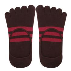Generic Footful Stripes Cotton Five Fingers Toe Sock Invisible Socks For Men Brown