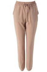 Stylish Elastic Waist Solid Colir Loose-Fittng Women's Harem Pants (Khaki)