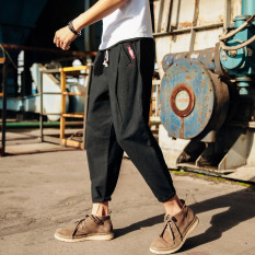 Stylish guy's Japanese-style HarLan autumn Teenager ankle-length pants casual pants (Hitam