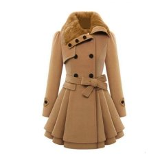 Stylish Lady Women Casual Long Sleeve Faux Fur Lapel Double-Breasted Thick Wool Coat Overcoat Jacket Trench Outwear (Camel)