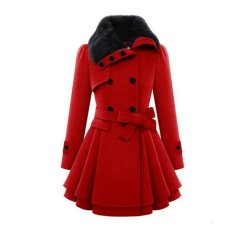 Stylish Lady Women Casual Long Sleeve Faux Fur Lapel Double-Breasted Thick Wool Coat Overcoat Jacket Trench Outwear (Red)