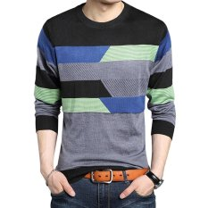 Stylish Stripe Round Neck Pullover Male Knitwear - Intl