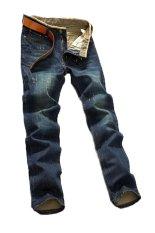 Summer Autumn Men's Fashion Slim Straight Jeans Hole Denim Pants Full Length (Blue) (Intl)